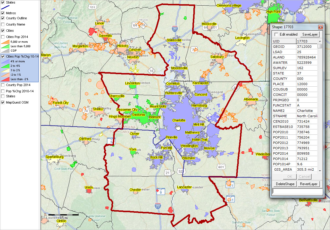 Geographic Information Systems DecisionMaking Information - Map washington dc to charlotte nc