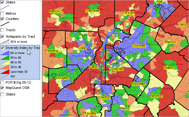 Neighborhood Diversity Census Tract Atlanta