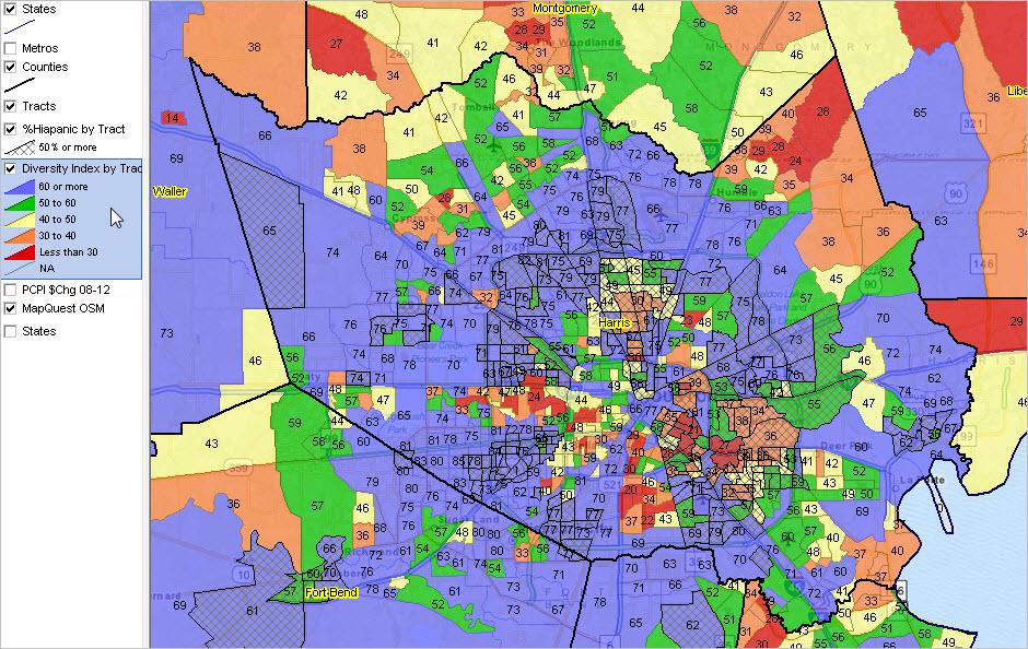 Neighborhood Diversity Census Tract Houston
