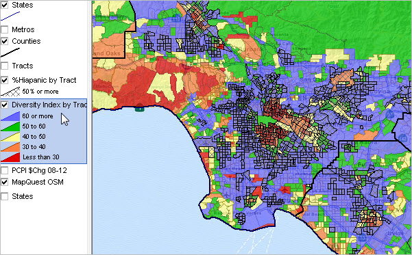 Neighborhood Diversity Census Tract Los Angeles