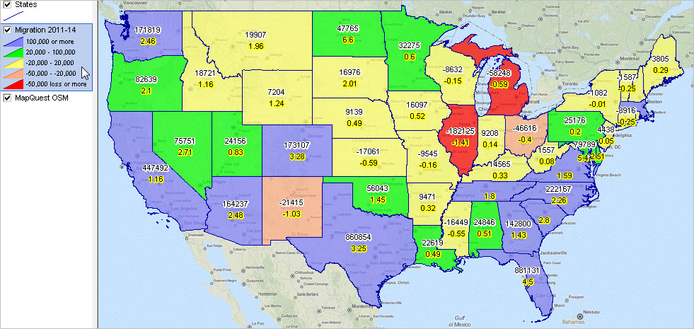 Us Population 2014 Map U.S. State 2010   2014 Population and Components of Change