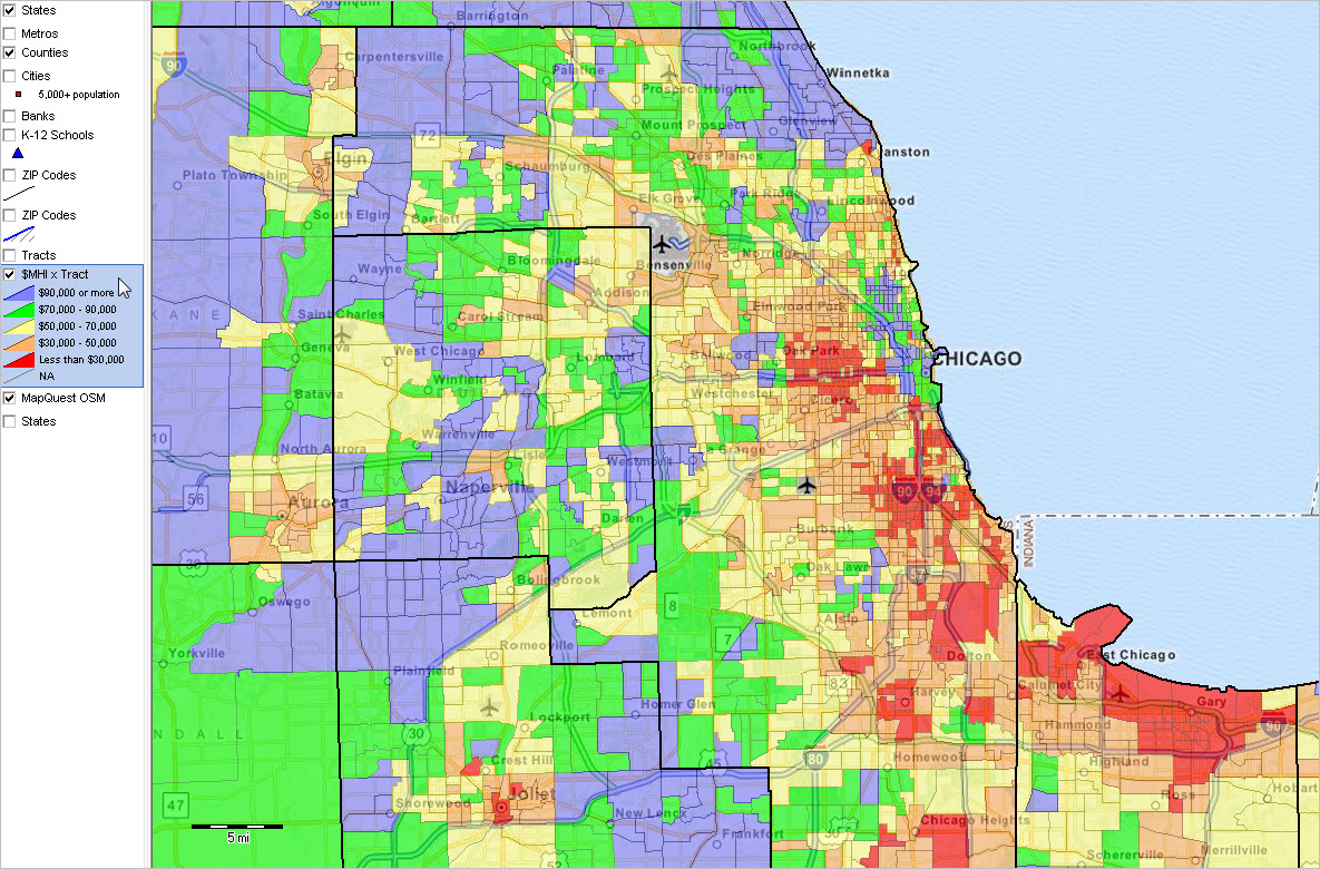 Chicago  Census Maps Wisconsin Zip Codes Map List Counties - Us zip codes new york