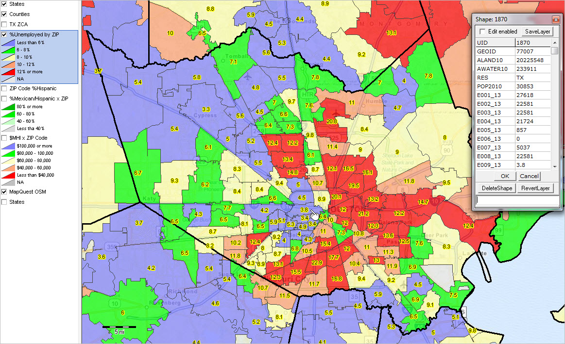 Greater Houston Area Zip Code Map.Local Area Employment Patterns Census Tract Zip Code