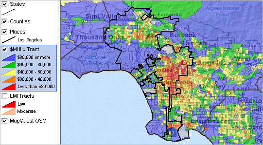 Los Angeles California Community Regional Demographic Economic Characteristics