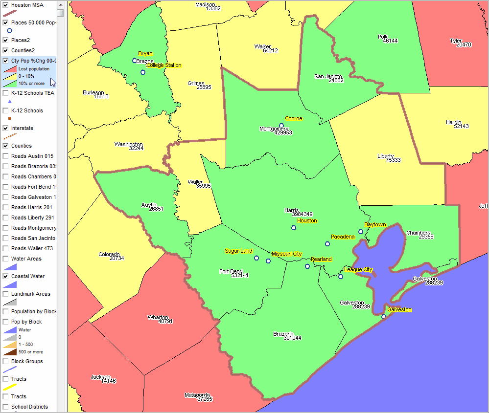 Houston Metro Census Demographic Economic Patterns Trends - Houston metro area map