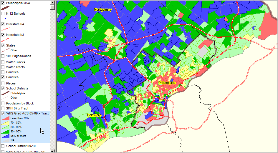Philadelphia city shown with bold brown boundary.