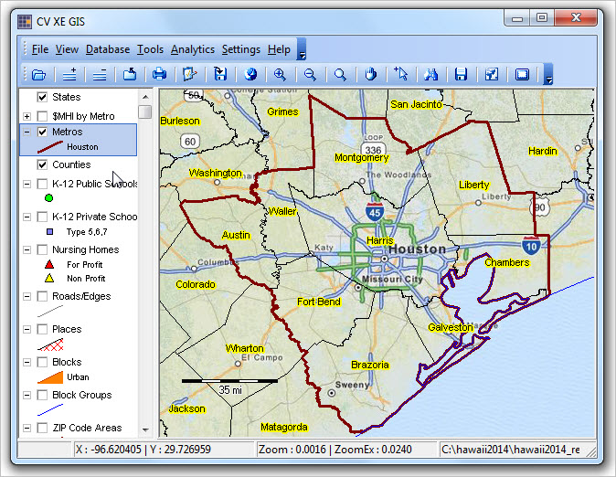 Hawaii GIS Project - Houston metro area map