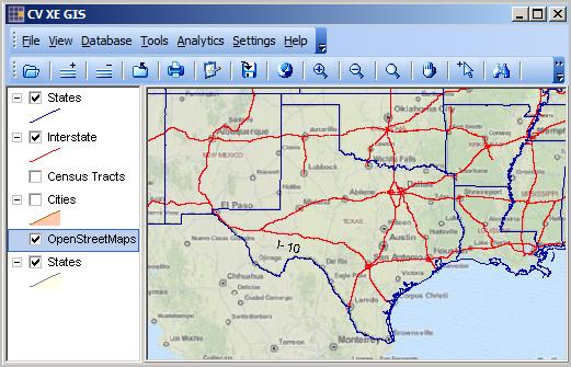 cv xe gis u s south central region states interstate shapefile overlays