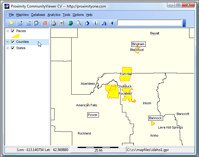 CommunityViewer QuickStart: Idaho by County & Place