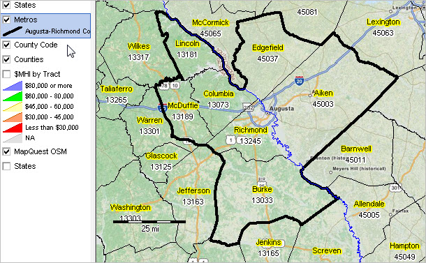 AugustaRichmond County GASC MSA Situation Outlook Report - Map of richmond county ga