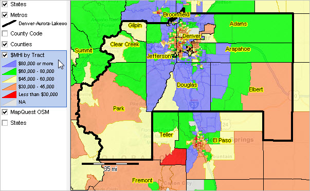 DenverAuroraLakewood CO MSA Situation Outlook Report - Denver county map