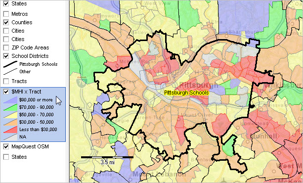Demographic trends 2010 2020 population estimates pittsburgh school district pa shown with bold black boundary colors see legend left of map show patterns of median household income by census tract altavistaventures Gallery