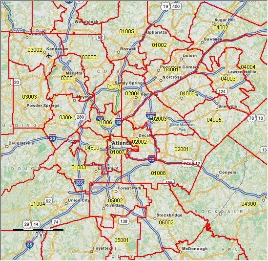PUMA 2010 Georgia Public Use Microdata Areas