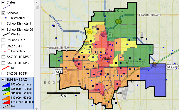 Wichita, Kansas Attendance Zone Demographics on