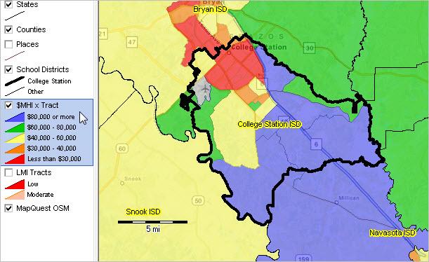College Station ISD Texas Demographic Economic Characteristics - College station texas map