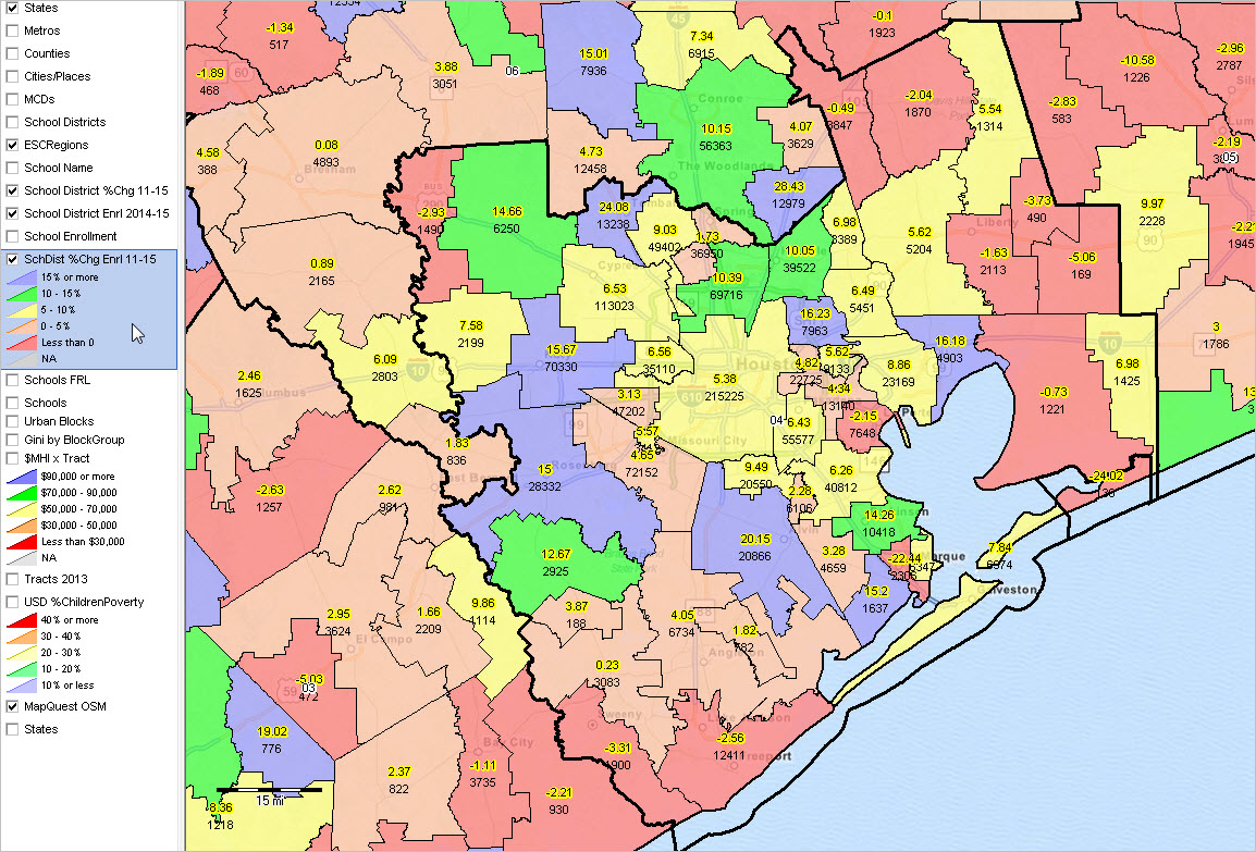Map Of Texas Esc Regions.Texas School Districts 2010 2015 Largest Fast Growth