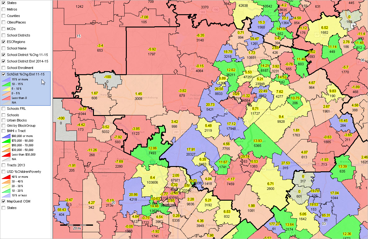 Map Of Texas District 6.Texas School Districts 2010 2015 Largest Fast Growth